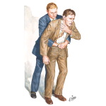 Illustration of Heimlich Maneuver Techniques: Adult Victim Standing  from the Netter Collection
