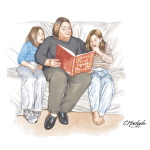 Overweight Woman Reading to Teens